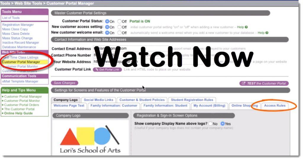 Customer portal access rules video