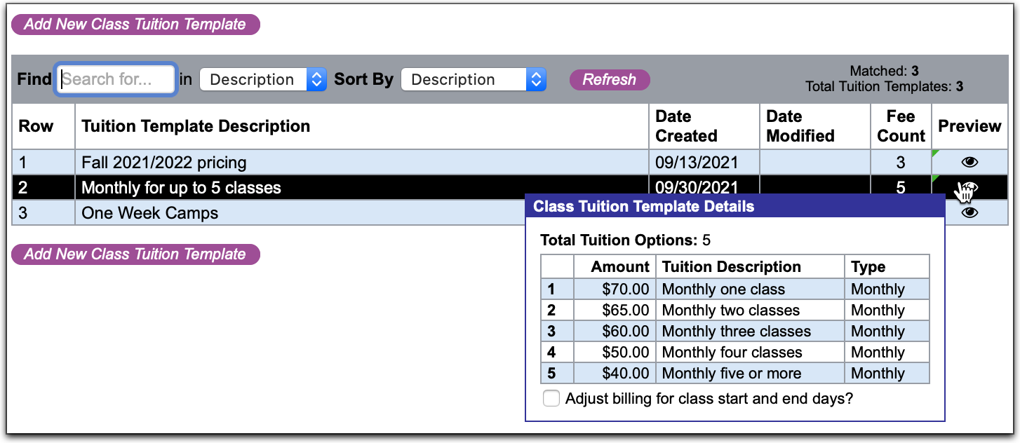 Class tuition templates